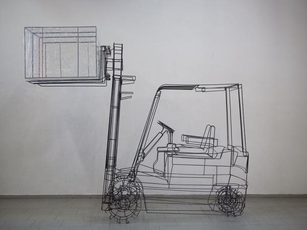 Autore-Michele-DAgostinoTitolo-Muletto-Misure-cm107x350x350-Materiale-Ferro-cellophane-Anno-2009